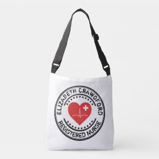 Registered Nurse Stamp Heart ECG With Your Name Crossbody Bag