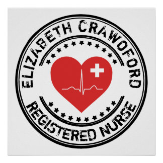 Registered Nurse Stamp Heart ECG With Your Name Poster