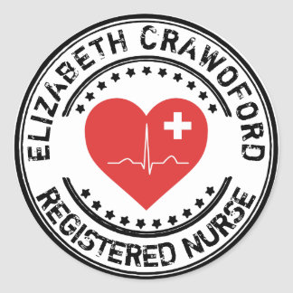Registered Nurse Stamp Heart ECG With Your Name Round Sticker