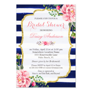 (Registry) Bridal Shower Navy Blue Stripes Flowers 13 Cm X 18 Cm Invitation Card
