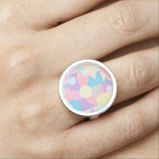 Regular Pastel Shapes in Abstract Collage Ring