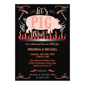 Rehearsal Dinner Barbecue BBQ Funny Pig Wedding 13 Cm X 18 Cm Invitation Card