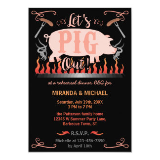 Rehearsal Dinner Barbecue BBQ Funny Pig Wedding Card