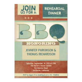 rehearsal dinner barbeque vintage party invitation