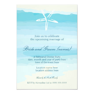 Rehearsal Dinner Beach wedding Invitation