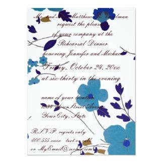 Rehearsal Dinner Blue Flower Art 14 Cm X 19 Cm Invitation Card