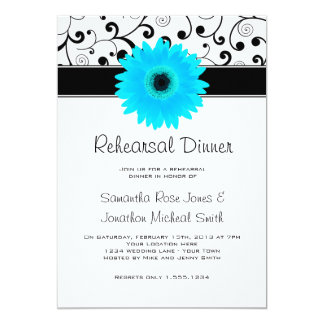 Rehearsal Dinner Blue Gerbera Daisy Black Scroll 13 Cm X 18 Cm Invitation Card