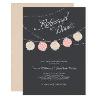 Rehearsal Dinner   Blush Pink Paper Lanterns Card
