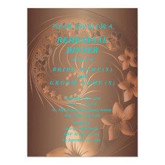 Rehearsal Dinner - Dark Brown Abstract Flowers 17 Cm X 22 Cm Invitation Card