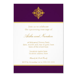 Rehearsal Dinner Gold and Purple Invitations
