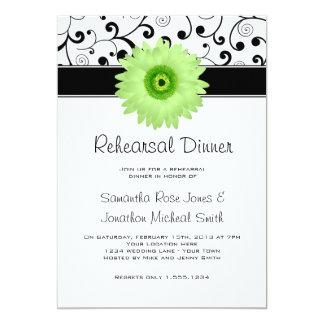 Rehearsal Dinner Green Gerbera Daisy Black Scroll Card