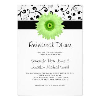 Rehearsal Dinner Green Gerbera Daisy Black Scroll Custom Invitation