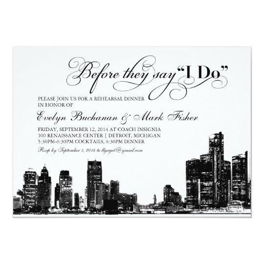 Rehearsal Dinner Invitation   Detroit Skyline