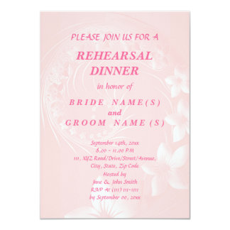 Rehearsal Dinner - Light Pink Abstract Flowers 11 Cm X 16 Cm Invitation Card
