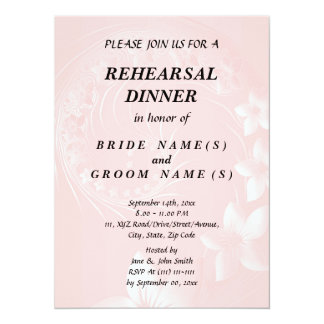 Rehearsal Dinner - Light Pink Abstract Flowers 14 Cm X 19 Cm Invitation Card