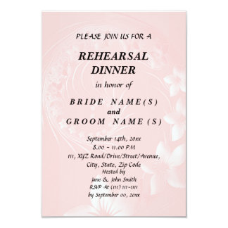 Rehearsal Dinner - Light Pink Abstract Flowers 9 Cm X 13 Cm Invitation Card