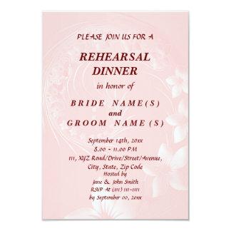 Rehearsal Dinner - Light Pink Abstract Flowers 9 Cm X 13 Cm Invitation Card