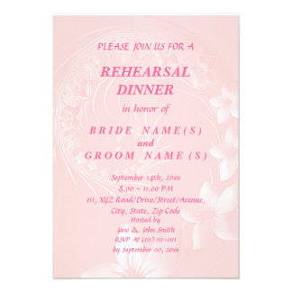Rehearsal Dinner - Light Pink Abstract Flowers Personalized Invitation