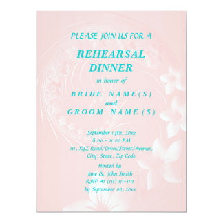 Rehearsal Dinner - Light Pink Abstract Flowers 6.5x8.75 Paper Invitation Card