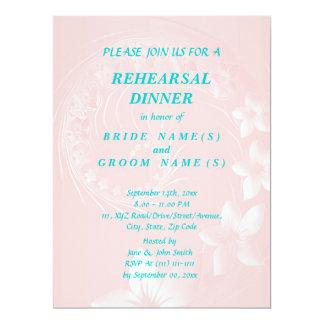 Rehearsal Dinner - Light Pink Abstract Flowers 17 Cm X 22 Cm Invitation Card