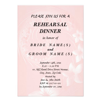 Rehearsal Dinner - Light Pink Abstract Flowers Custom Announcements