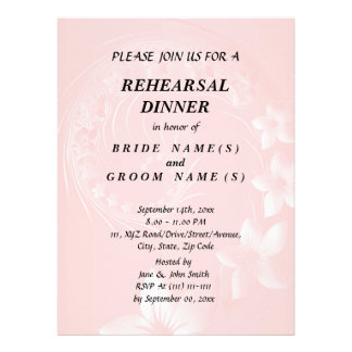 Rehearsal Dinner - Light Pink Abstract Flowers Invitations