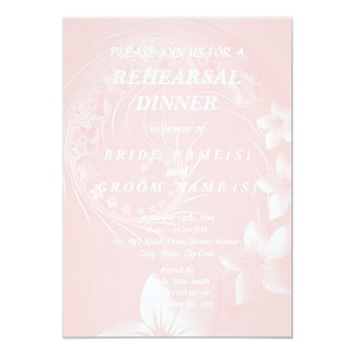Rehearsal Dinner - Light Pink Abstract Flowers 13 Cm X 18 Cm Invitation Card