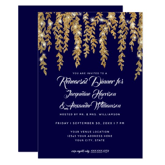 Rehearsal Dinner Modern Twinkle Lights Leaf Gold Card