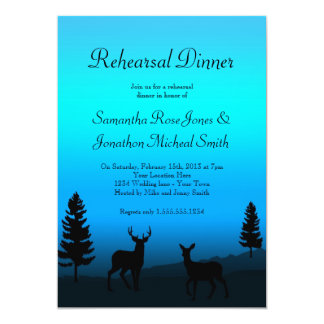 Rehearsal Dinner Nature Mountain Dusk Blue 13 Cm X 18 Cm Invitation Card