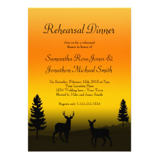 Rehearsal Dinner Nature Mountain Sunset Orange Personalized Invite