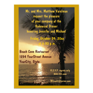 Rehearsal Dinner  Ocean View Palm Trees Card