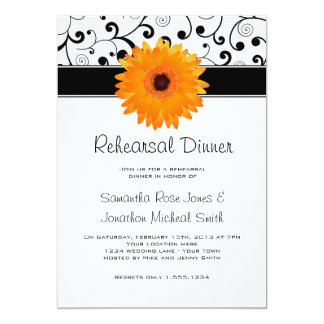 Rehearsal Dinner Orange Gerbera Daisy Black Scroll 13 Cm X 18 Cm Invitation Card