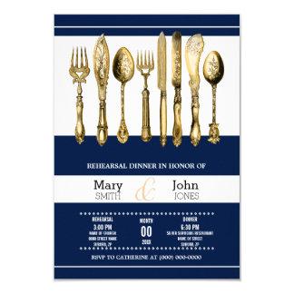Rehearsal dinner party navy gold 9 cm x 13 cm invitation card