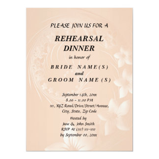 Rehearsal Dinner - Pastel Brown Abstract Flowers 17 Cm X 22 Cm Invitation Card