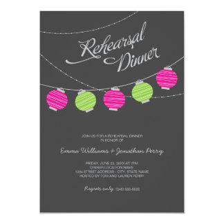 Rehearsal Dinner | Pink and Green Paper Lanterns 13 Cm X 18 Cm Invitation Card