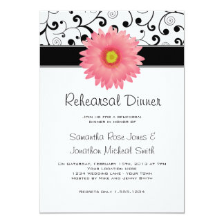 Rehearsal Dinner Pink Gerbera Daisy Black Scroll 13 Cm X 18 Cm Invitation Card