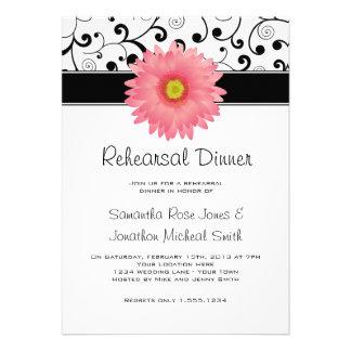 Rehearsal Dinner Pink Gerbera Daisy Black Scroll Announcement
