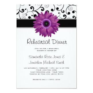 Rehearsal Dinner Purple Gerbera Daisy Black Scroll 13 Cm X 18 Cm Invitation Card