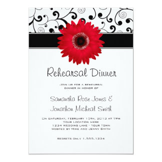 Rehearsal Dinner Red Gerbera Daisy Black Scroll 13 Cm X 18 Cm Invitation Card
