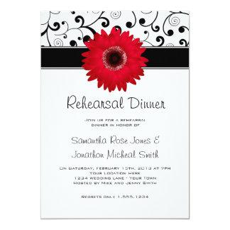 Rehearsal Dinner Red Gerbera Daisy Black Scroll Card