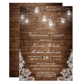 Rehearsal Dinner Rustic Wood Mason Jar Lights Lace Card