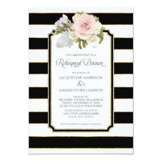 Rehearsal Dinner Striped Modern Floral faux Gold 13 Cm X 18 Cm Invitation Card
