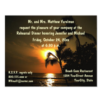 Rehearsal Dinner Tropical Sunset 11 Cm X 14 Cm Invitation Card