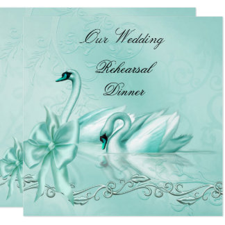 Rehearsal Dinner Wedding Teal Blue Aqua Swans Card