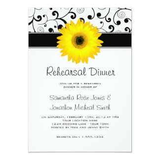 Rehearsal Dinner Yellow Gerbera Daisy Black Scroll 13 Cm X 18 Cm Invitation Card