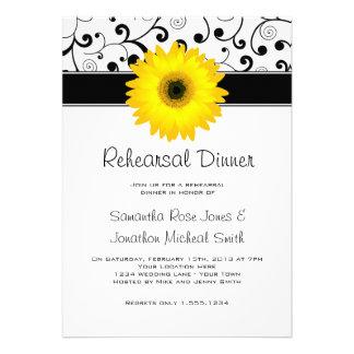 Rehearsal Dinner Yellow Gerbera Daisy Black Scroll Announcement