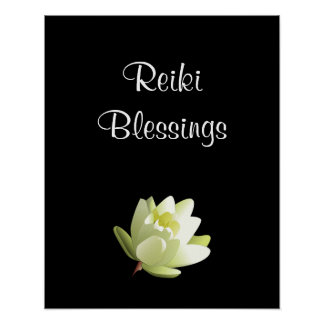 Reiki Blessings white Lilly Poster