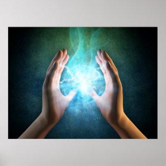 Reiki healing hands energi at work distant healing poster