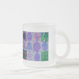 Reiki Healing Signs 12 Havenly blue Frosted Glass Coffee Mug