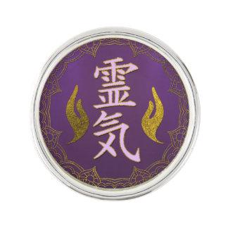 Reiki Healing Symbols with lotus on purple Lapel Pin